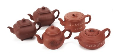 Five various Chinese Yixing te