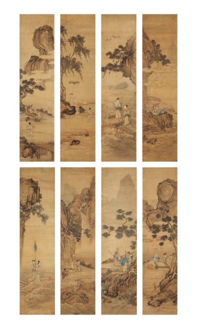 A set of eight Chinese scrolls