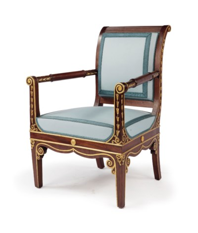 A Dutch parcel-gilt mahogany a