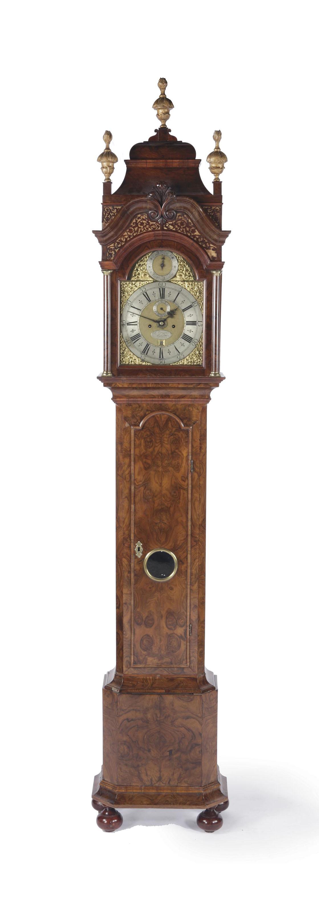 A Dutch burr-walnut and walnut longcase clock