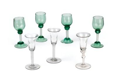 Seven various opaque-twist gob