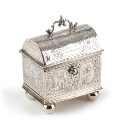 A Dutch silver wedding casket,