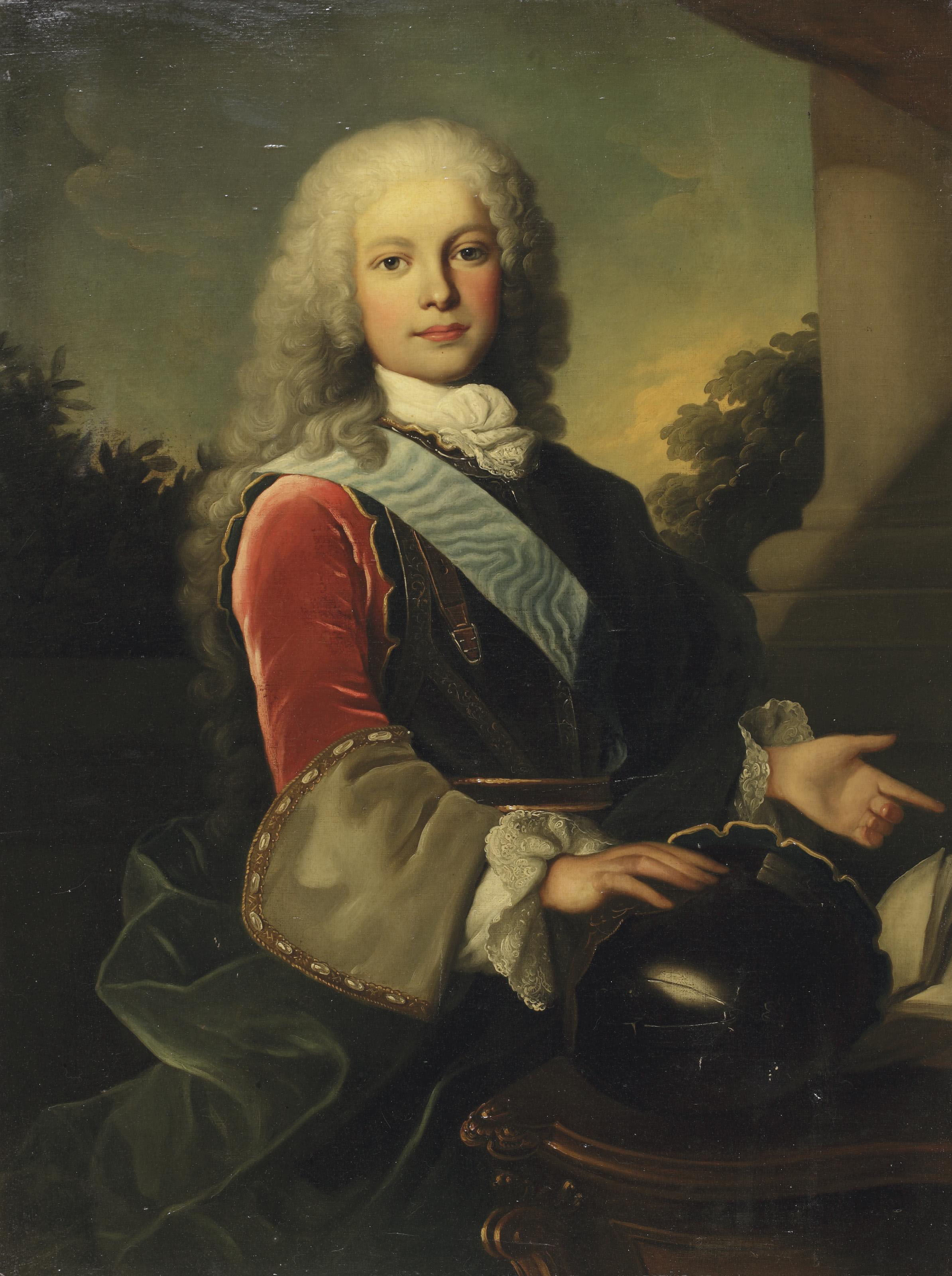 Portrait of King Ferdinand VI of Spain (1713-1759) as Prince of Asturias, half-length, standing before a 'portico', his hand on his helmet on a table, a landscape beyond