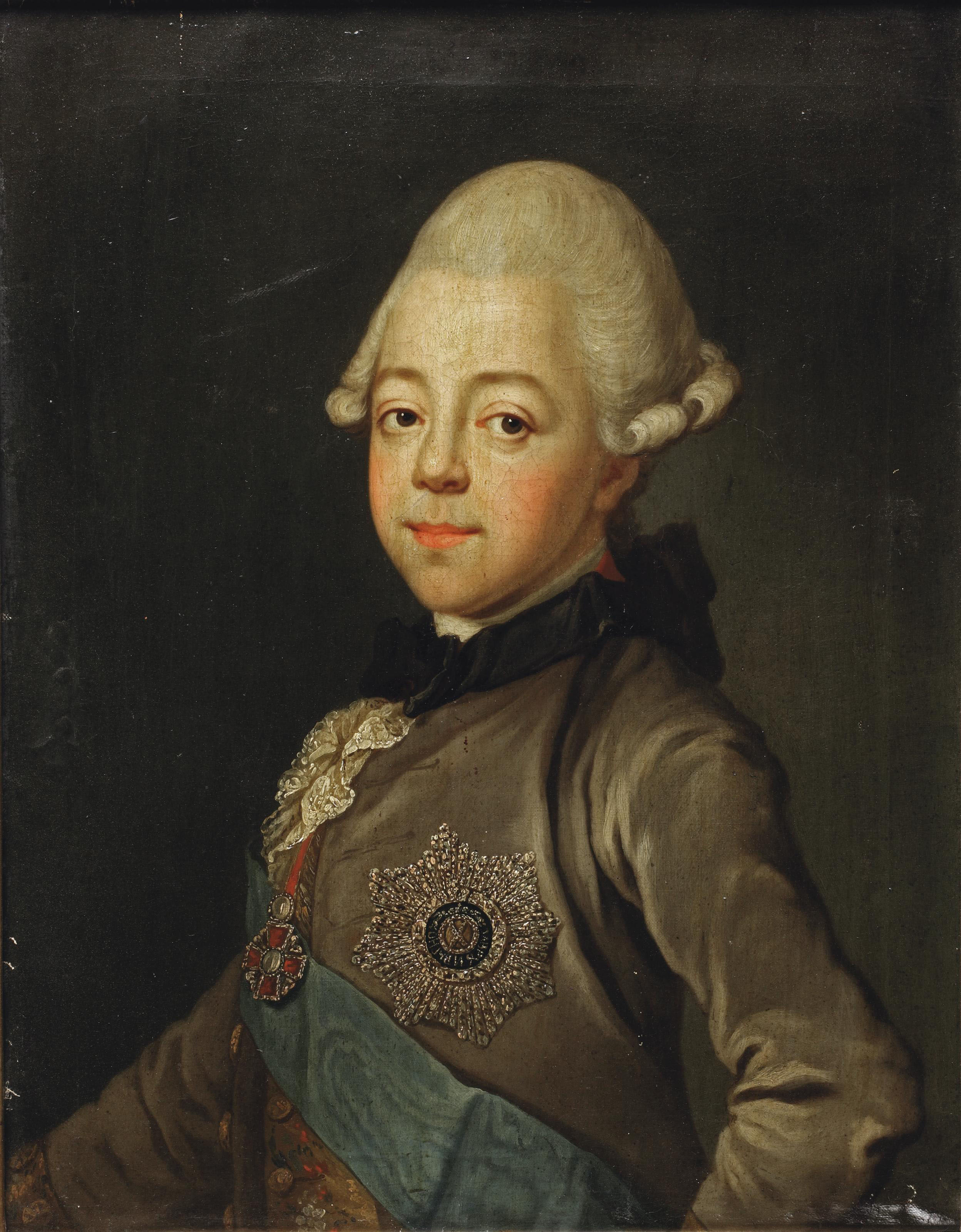Portrait of Grand Duke Paul Petrovich of Russia, the future Emperor Paul I (1754-1801), half-length, with the sash and star of the Order of Saint Andrew the First-Called, and the star of the Order of St. Anna insignia of the Order of St. Andrew and the Order of St. Anna
