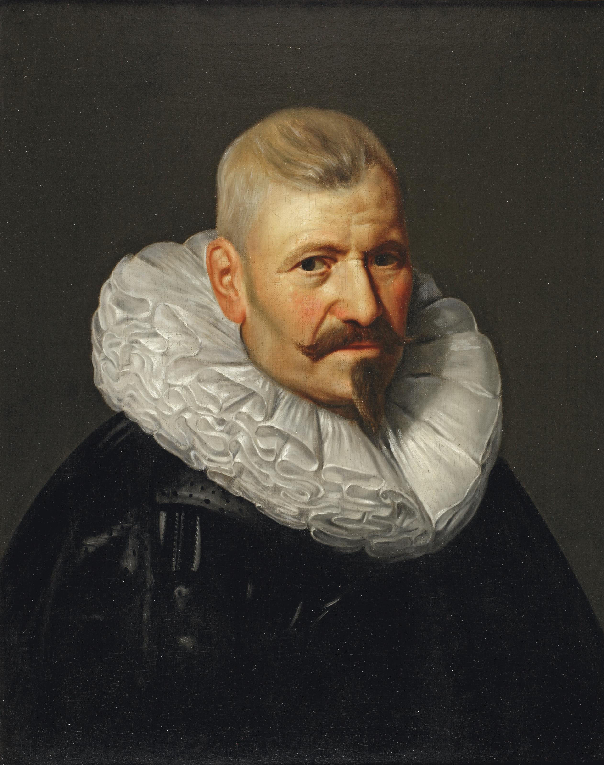 Portrait of a gentleman, bust-length, in a black robe with a white ruff