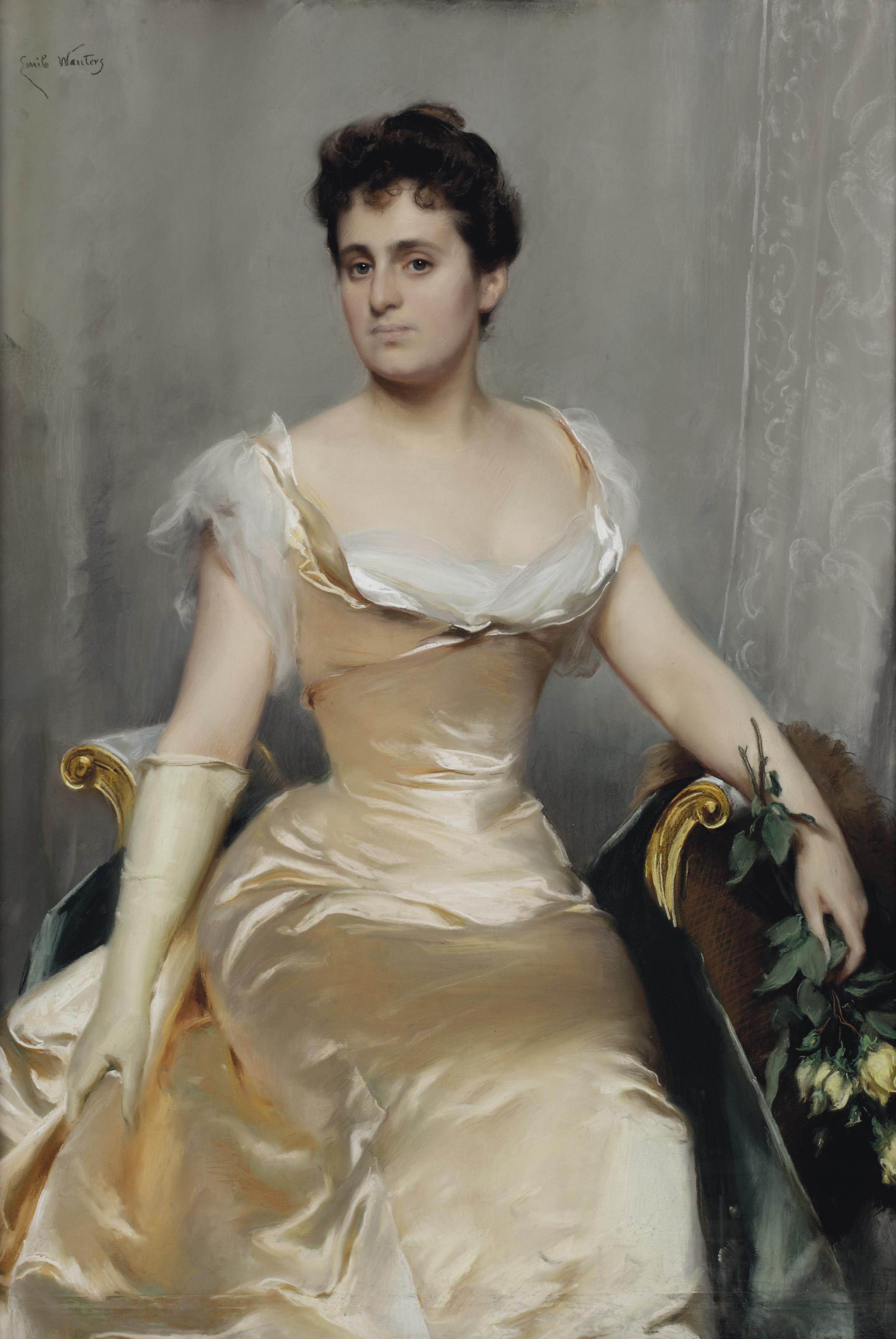 An elegant lady in a silk dress