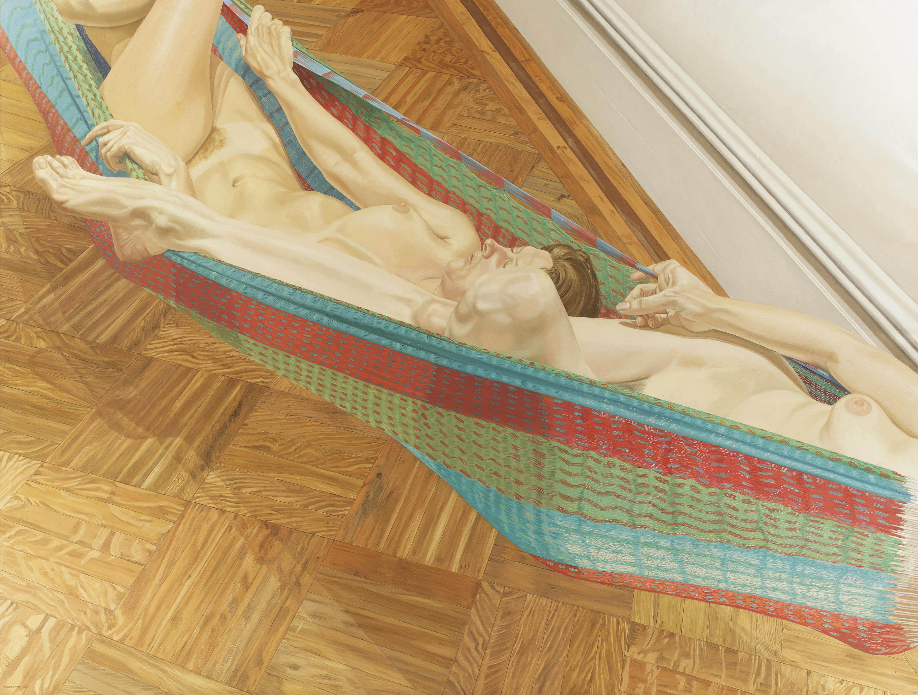 Two female models in hammock