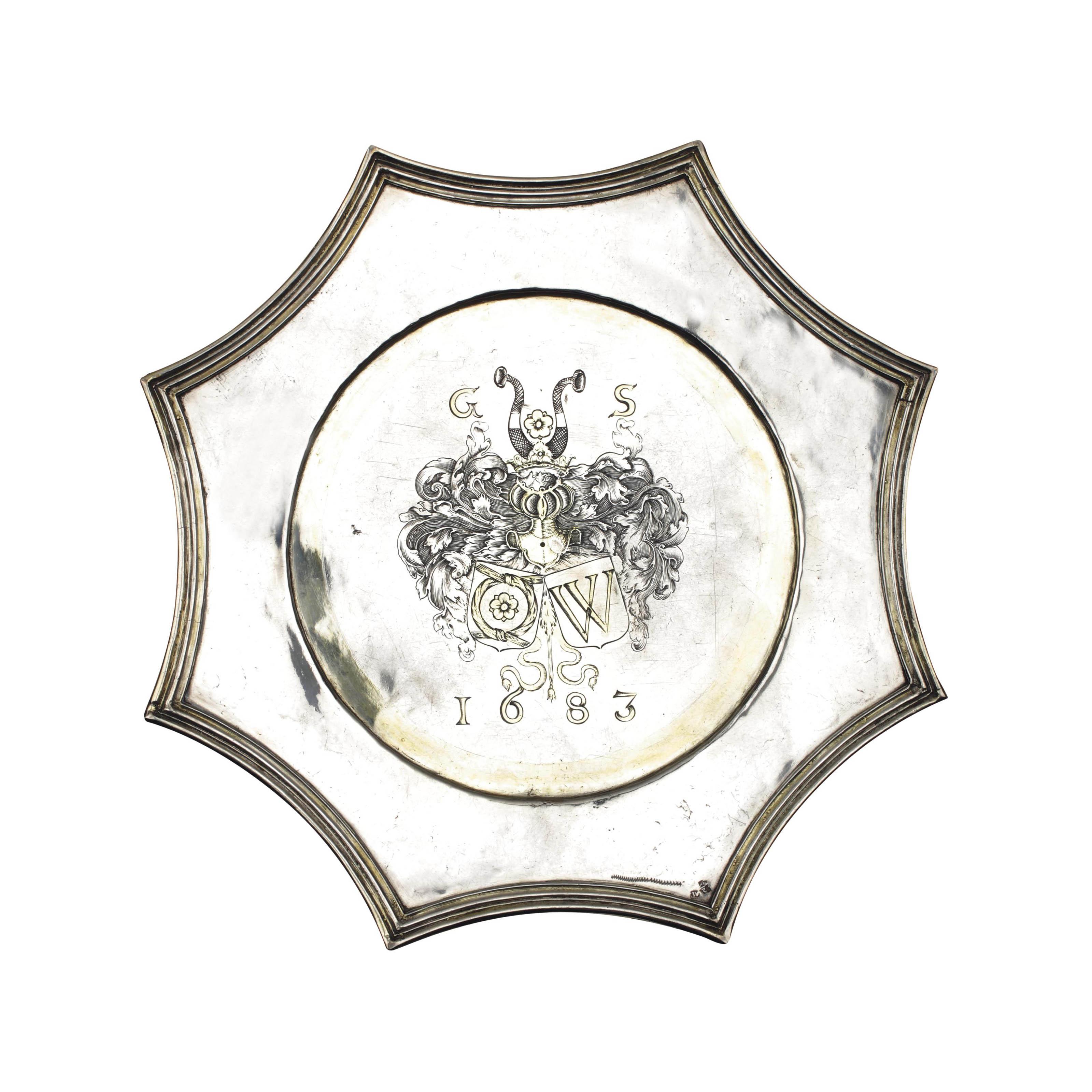 A rare Dutch silver pointed dish, puntschotel