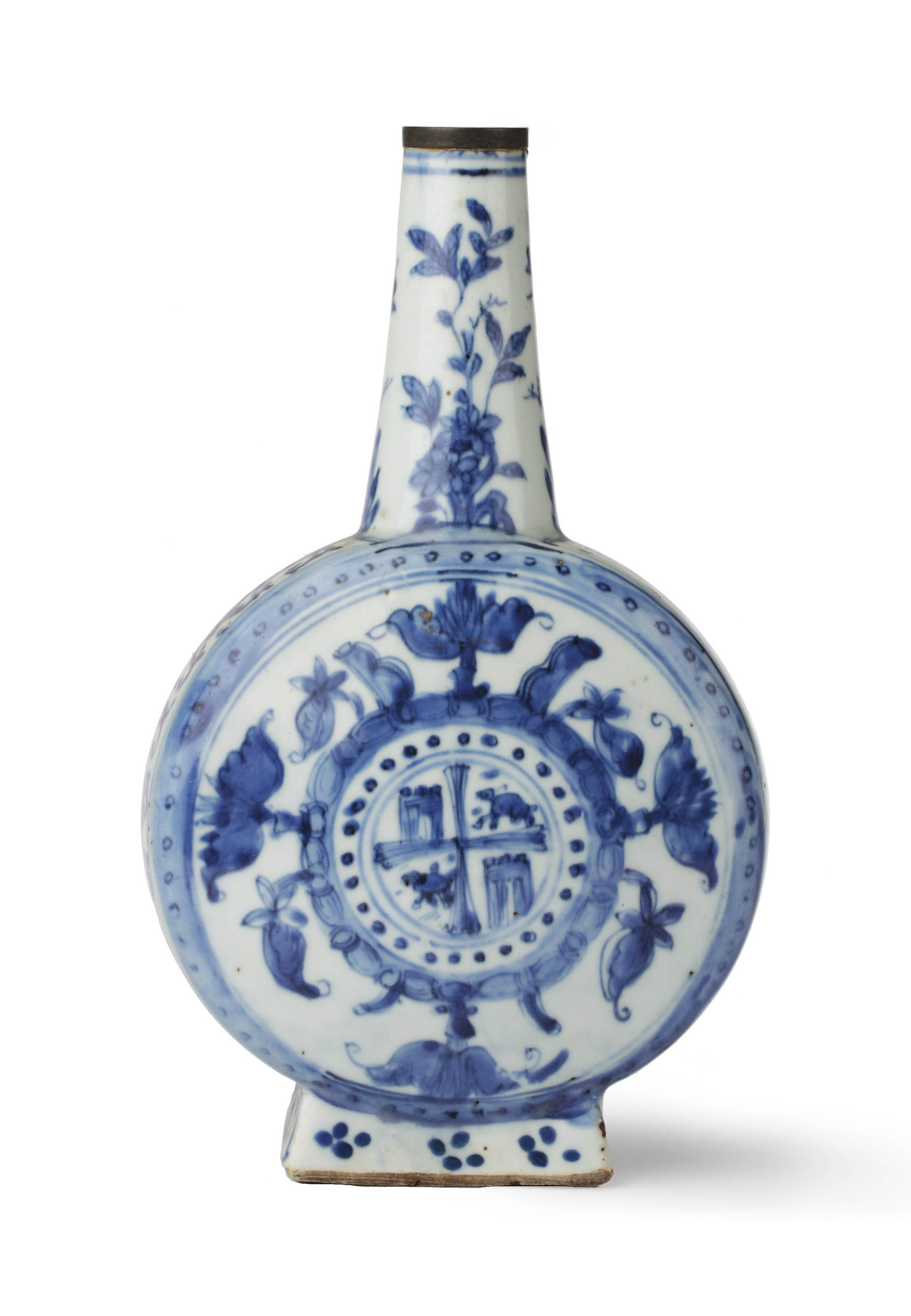 A Chinese late Ming blue and white armorial bottle