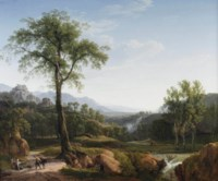 An Italianate landscape with travellers resting in the shade of a tree, a view of Tivoli in the background
