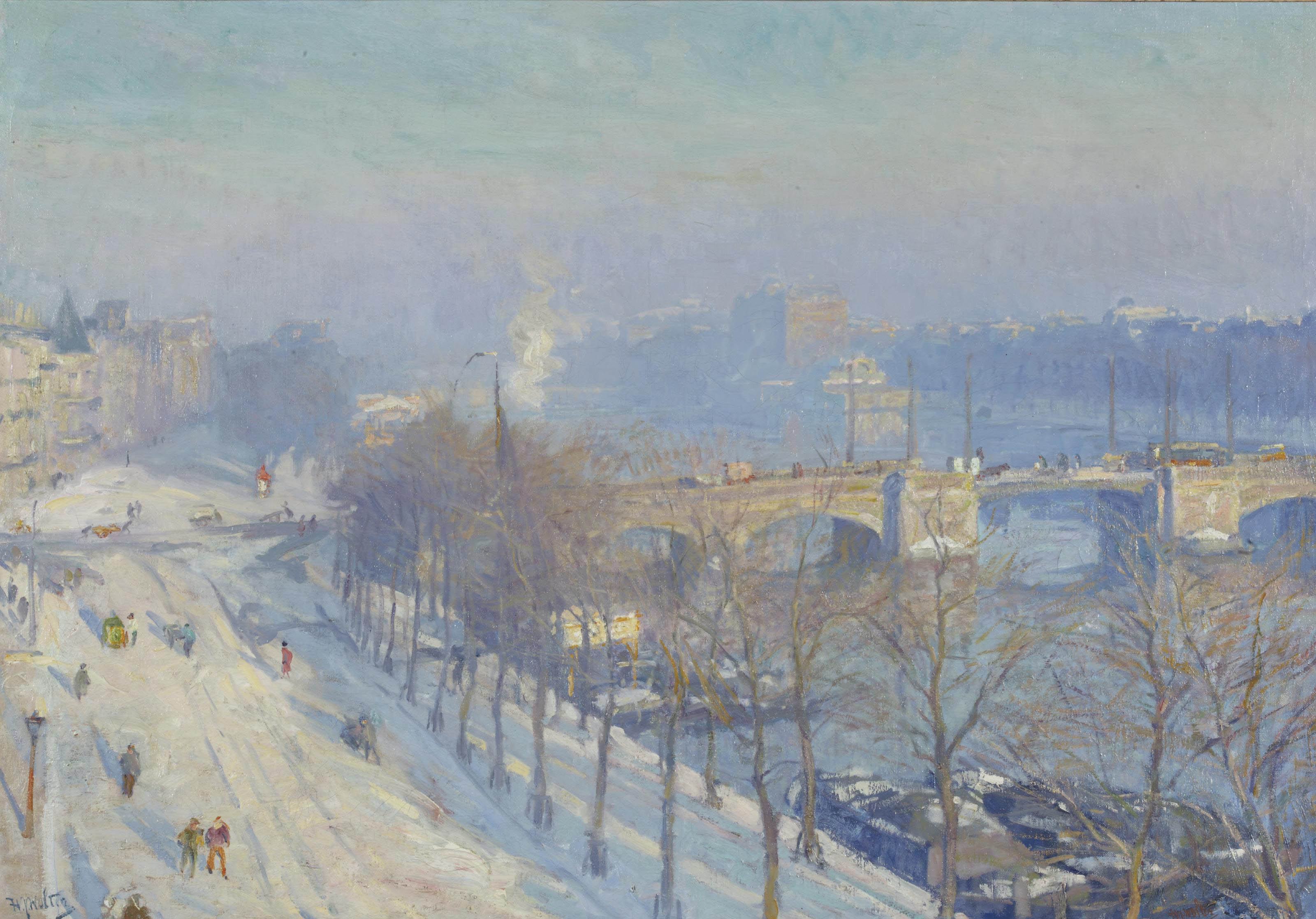 A view of the river Amstel in winter, seen from the artist's studio, Amsterdam