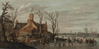 A winter landscape with skaters, elegant figures and kolf players on the ice in a village