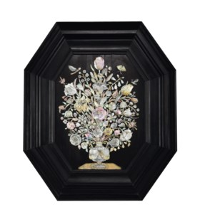 A Dutch engraved mother-of-pearl inlaid ebony panel