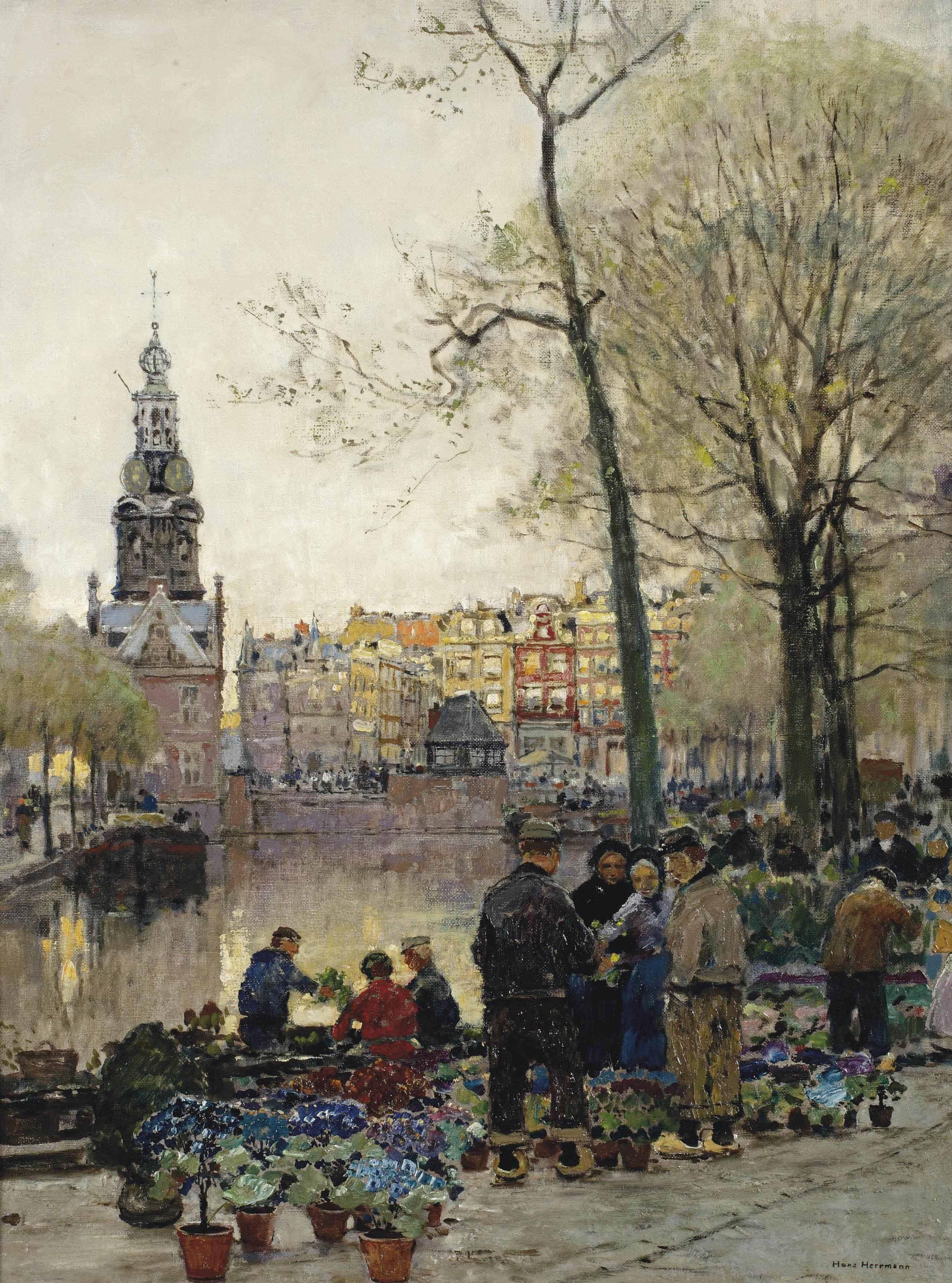 Flowermarket in Amsterdam, the Munt beyond