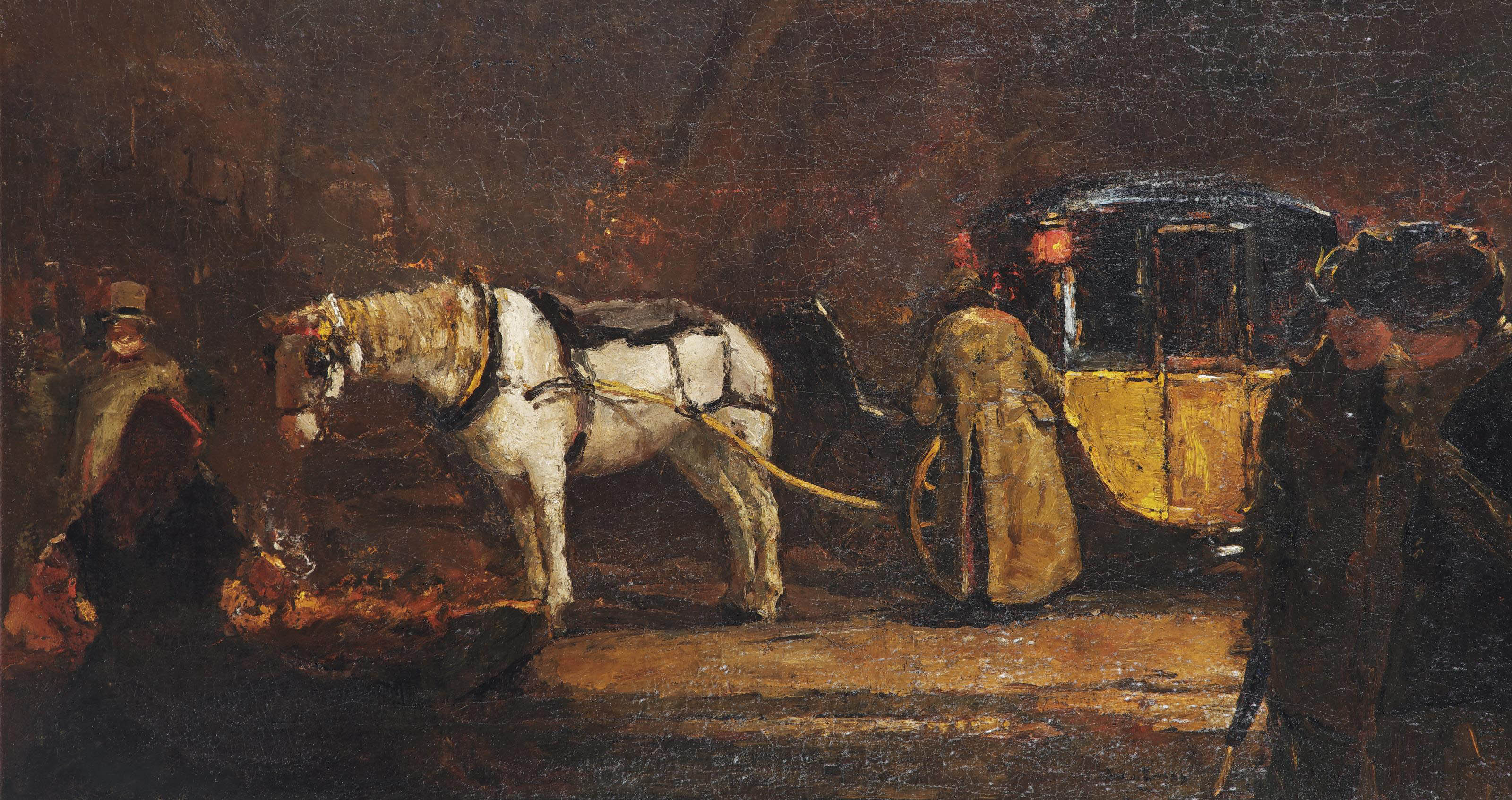 A night scene with a carriage, Paris