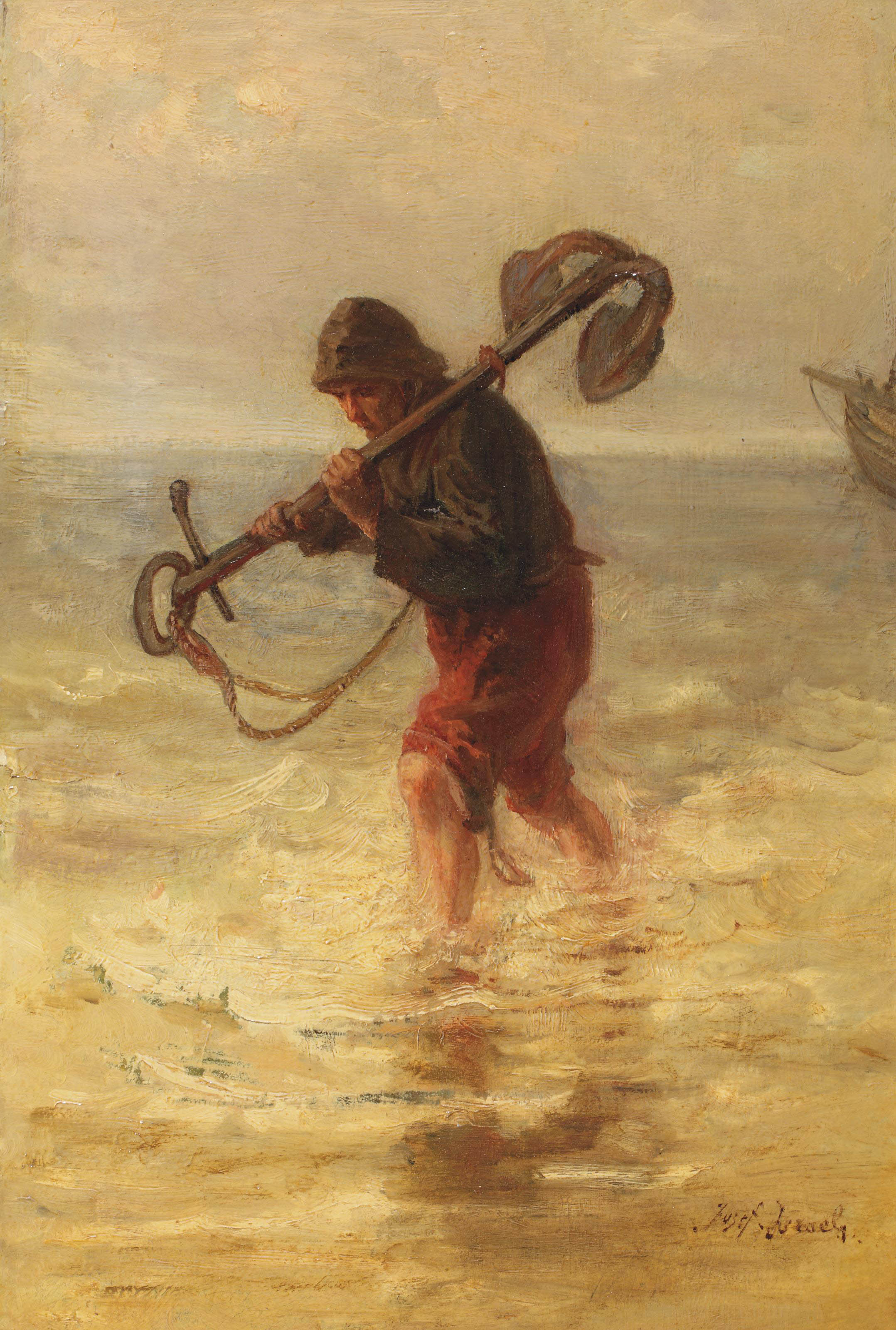 A fisherman with an anchor