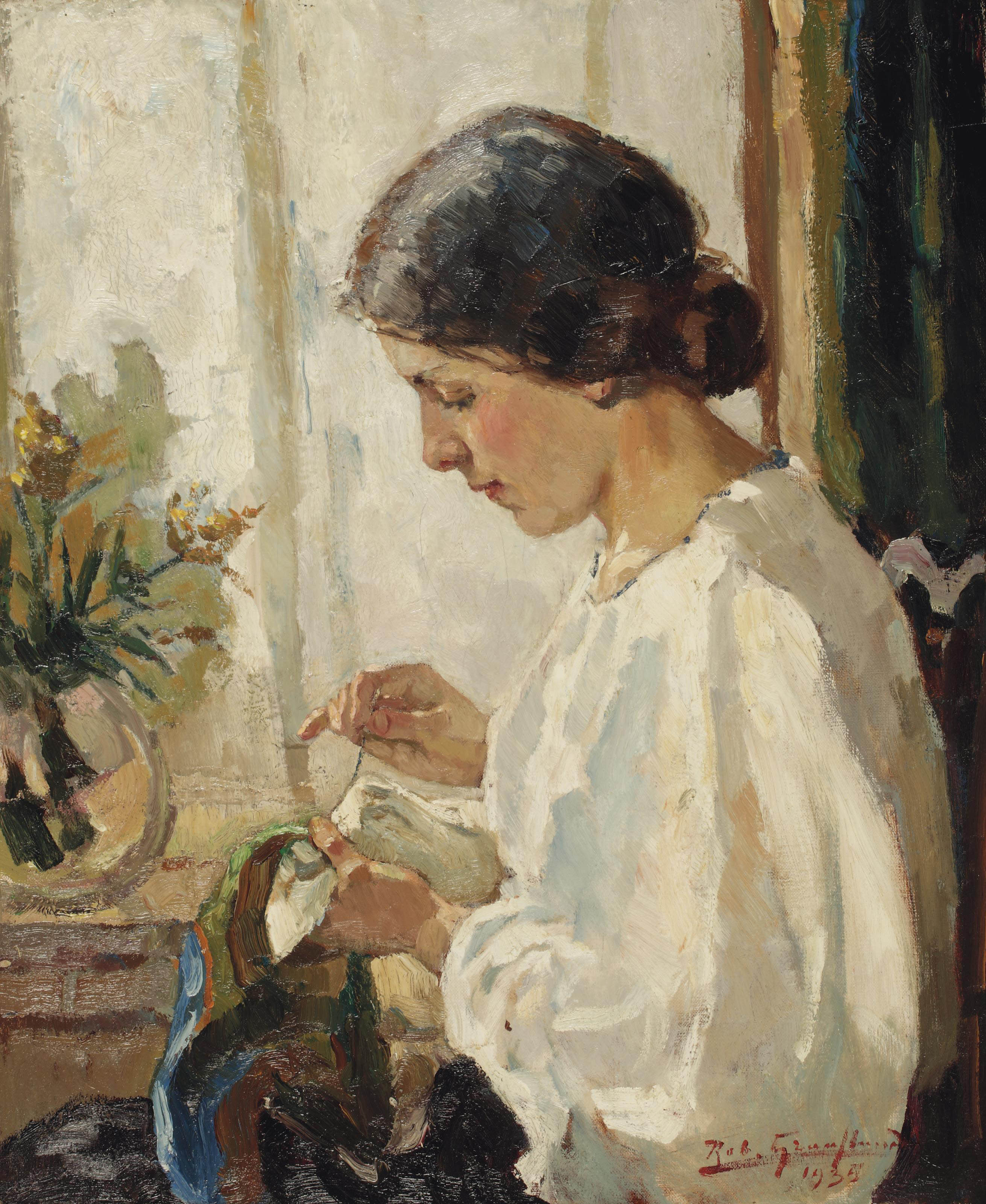 A seamstress doing needlework by a window