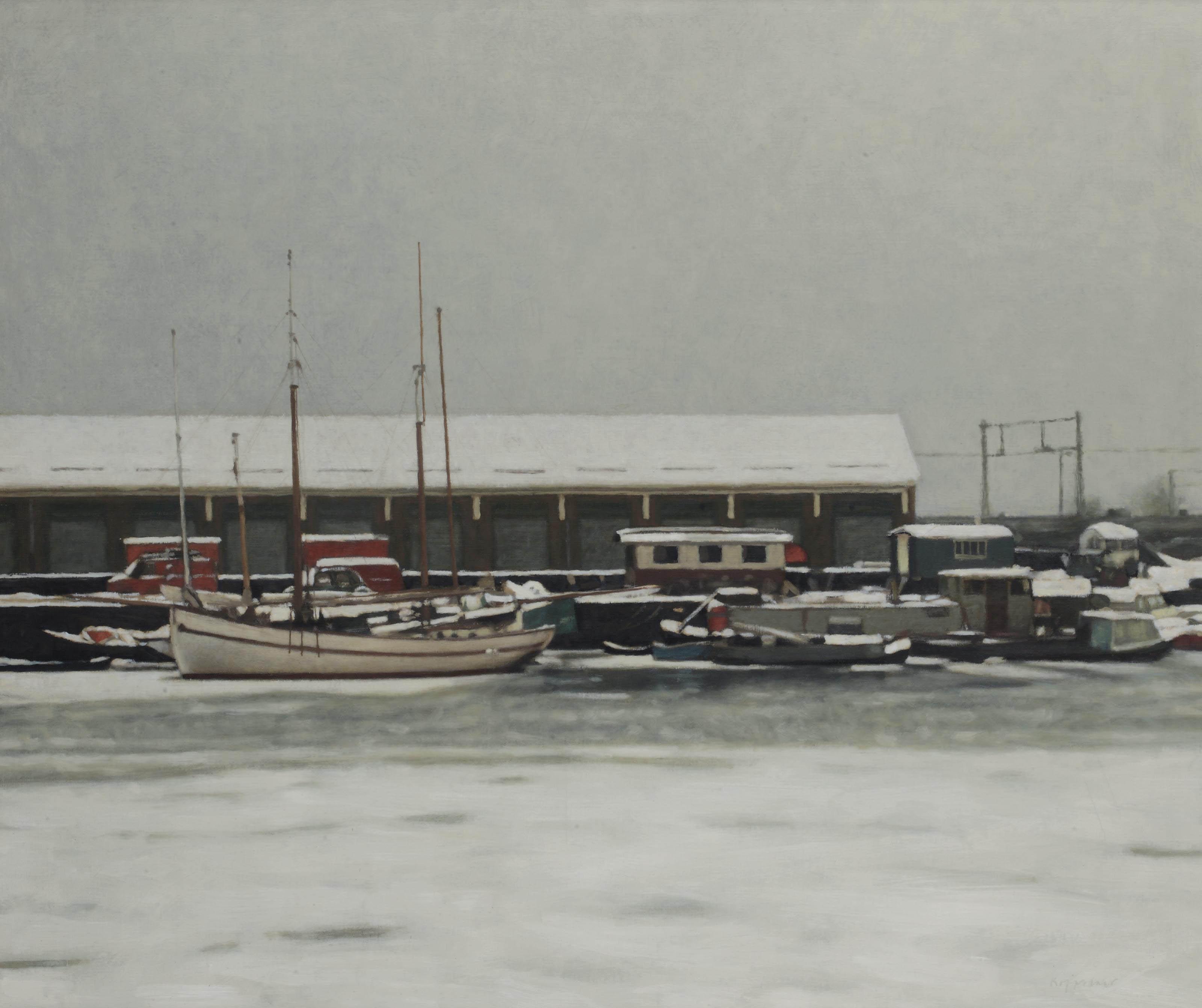 Het Westerdok in de sneeuw