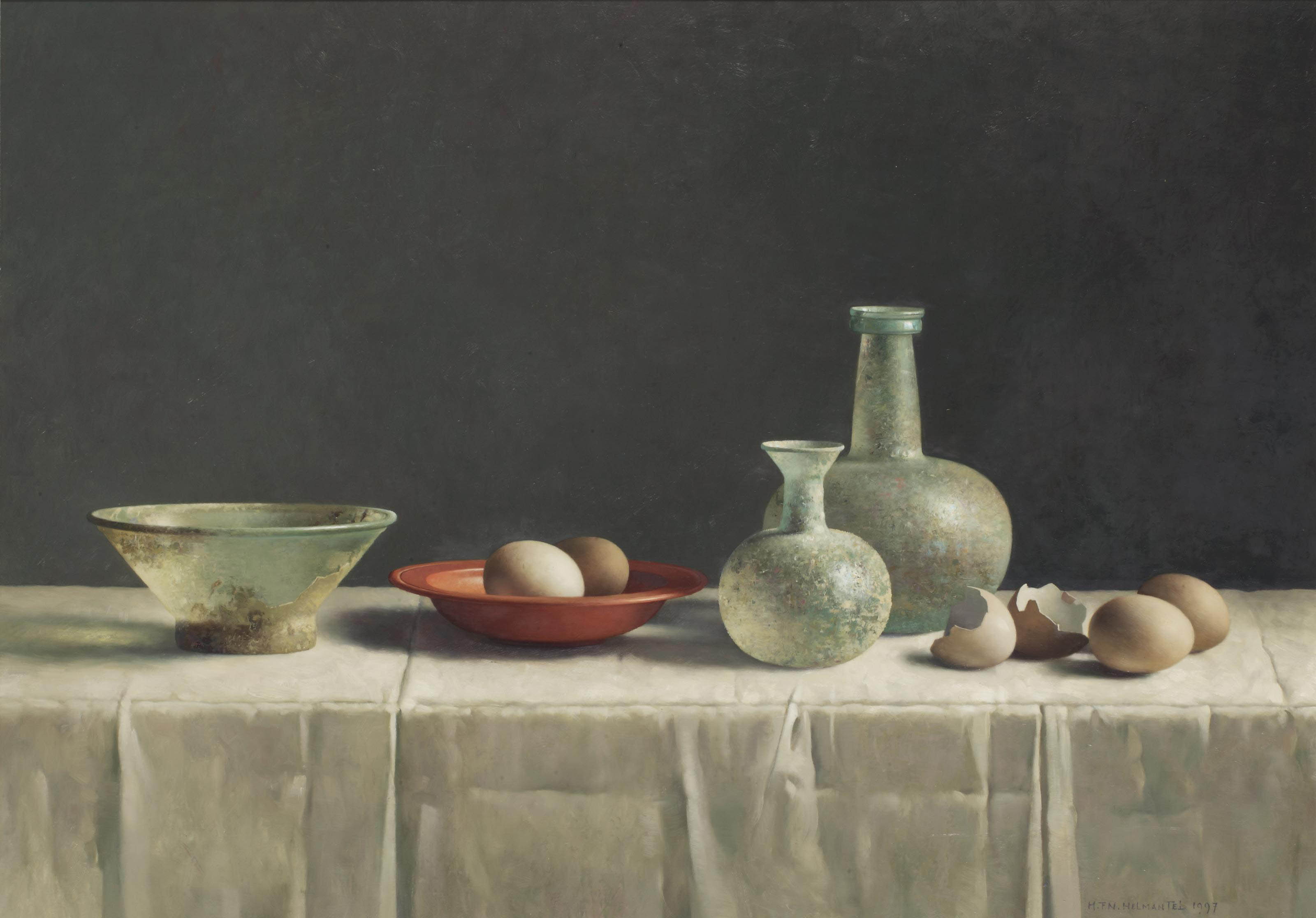 A still life with eggs and Roman glass