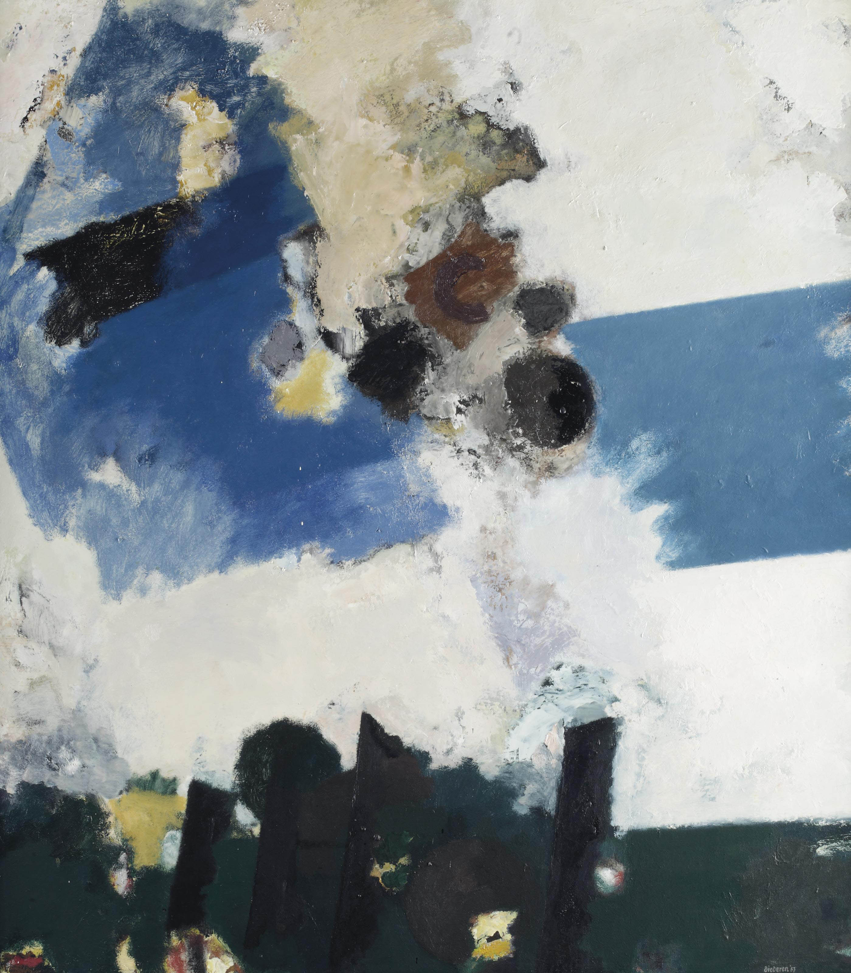 Composition in white, blue and black