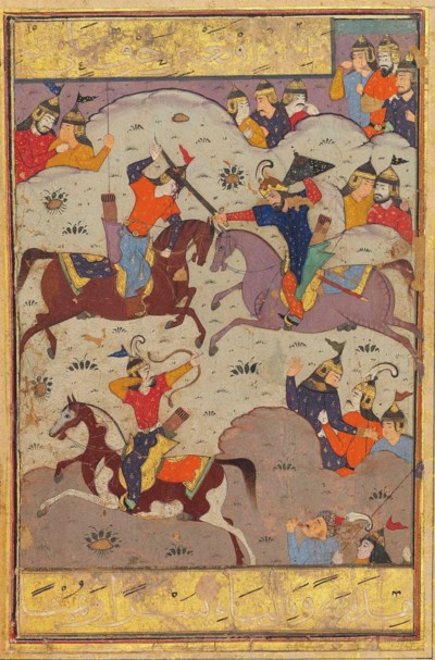 A BATTLE SCENE FROM THE SHAHNA
