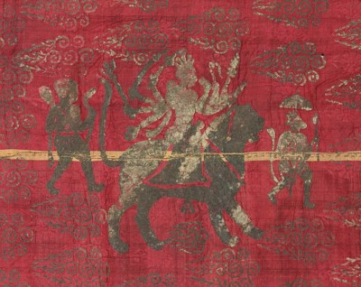 A CRIMSON SILK SIKH BATTLE STA