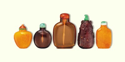 FIVE AMBER SNUFF BOTTLES