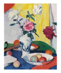 Still Life with Roses, yellow background