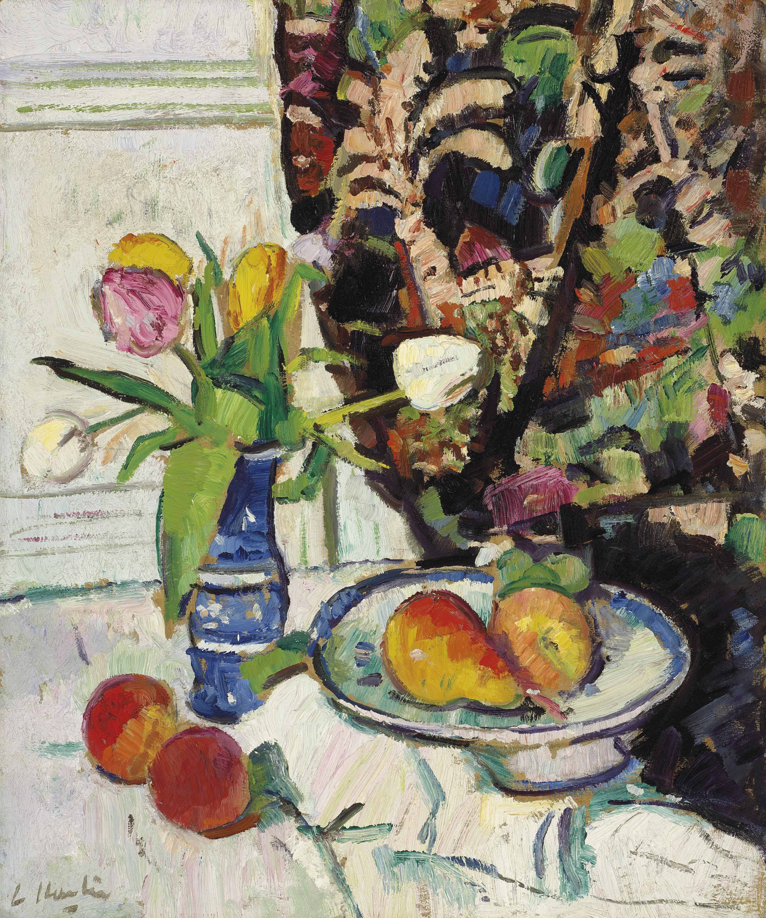 Still life with tulips and fruit