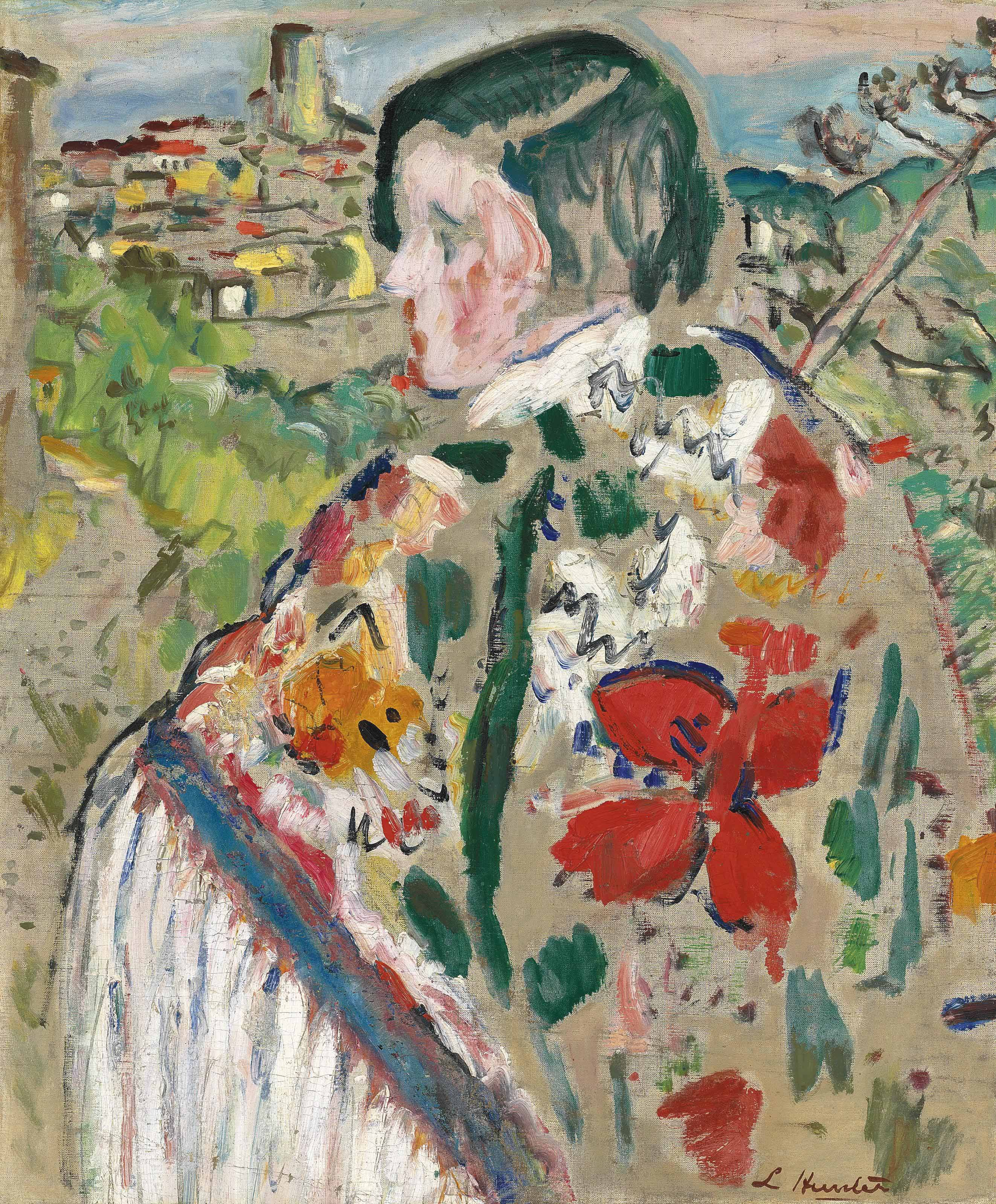 Girl in a shawl; St Paul de Vence beyond