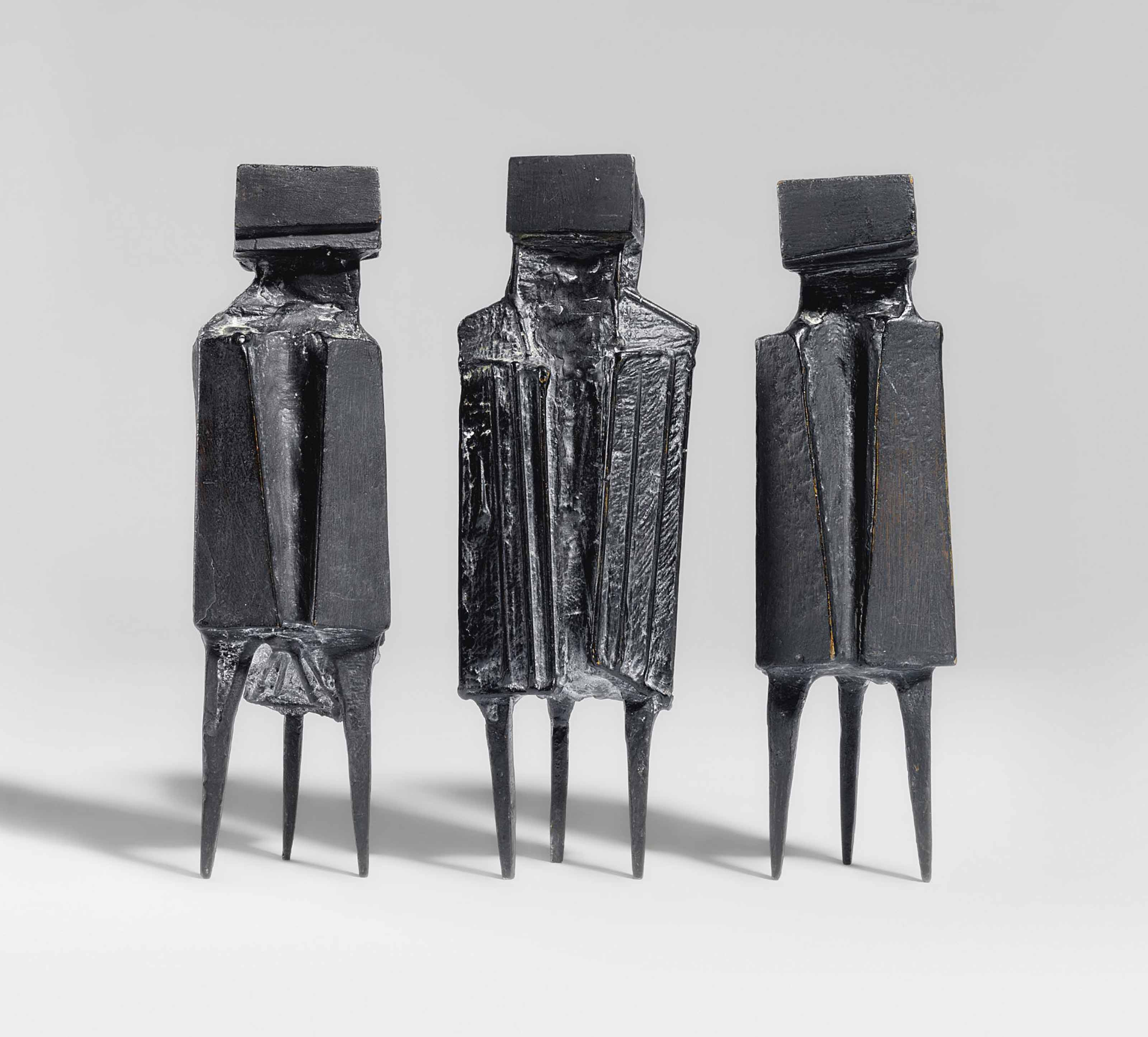 Lynn Chadwick, R.A. (1914-2003), Three Watchers. Bronze with a black patina. 8¾ in (24.8 cm) high (3). Sold for £34,850 on 24 May 2012 at Christie's in London.© Lynn Chadwick  Bridgeman Images