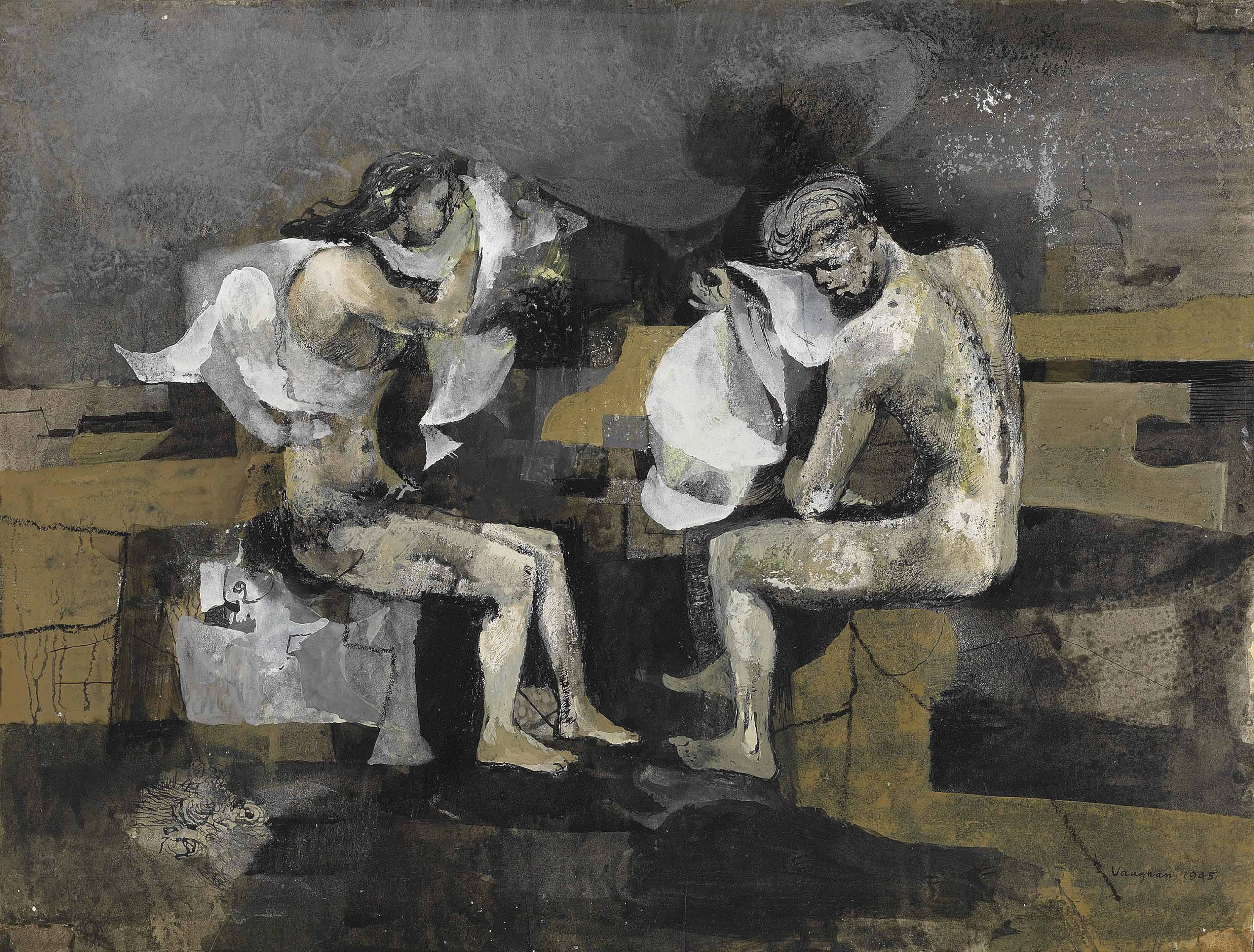 Seated bathers on the shore