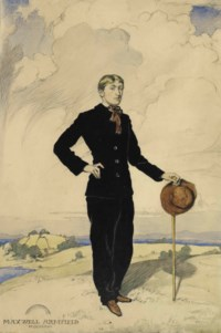 Self-portrait, full-length, in an extensive landscape