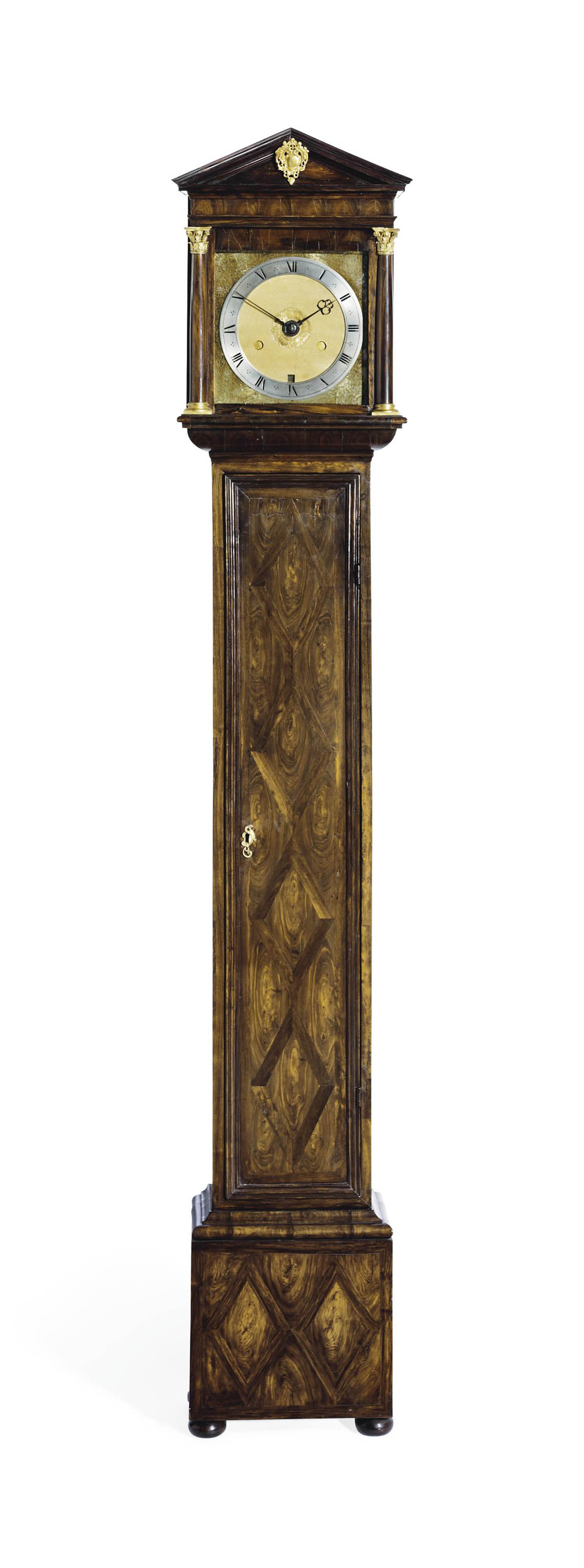A CHARLES II SMALL LABURNUM OYSTER VENEERED ARCHITECTURAL STRIKING EIGHT-DAY LONGCASE CLOCK