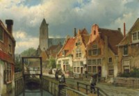 Figures on a Canal in Oudewater, Holland