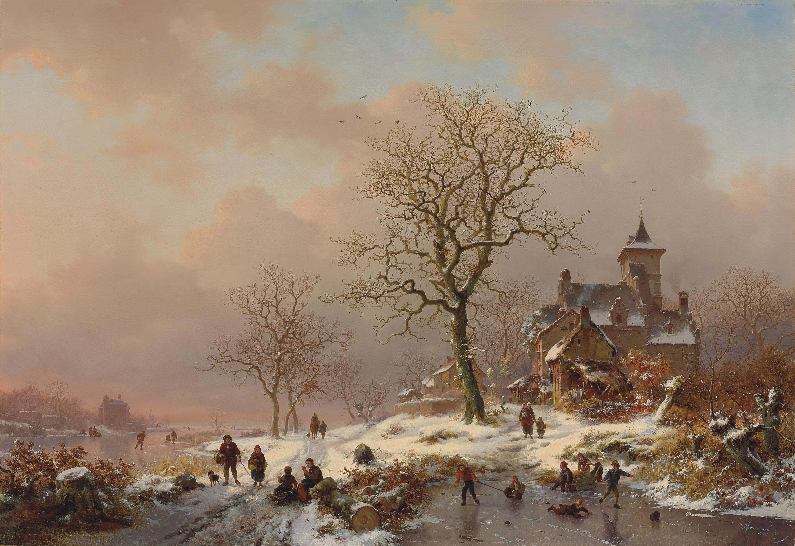 Winter landscape with figures playing on the ice