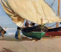 Pescadores. Barcas varadas, Valencia