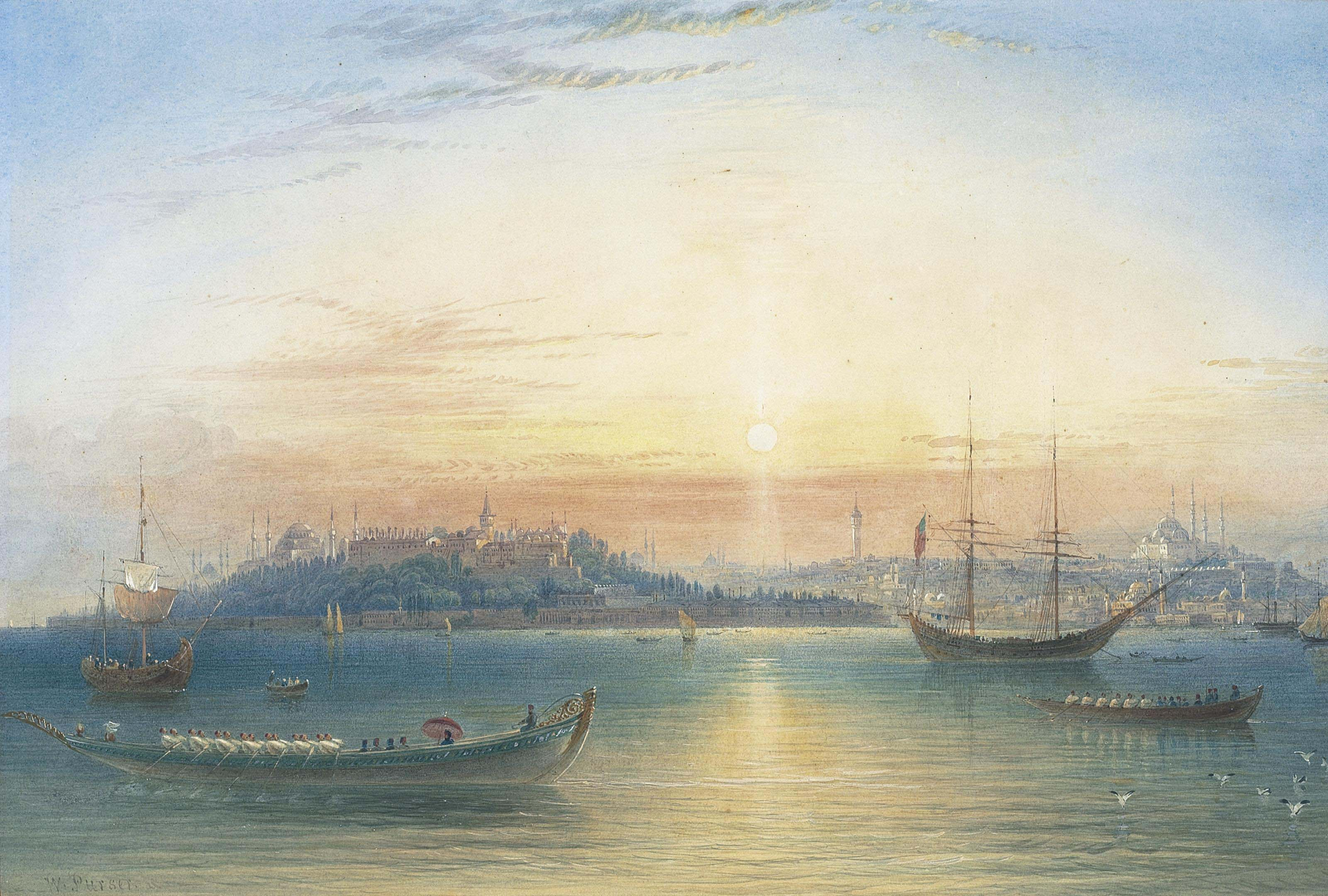 Constantinople, showing the Topkapi and the Suleimaniye with the Sultan's Barge in the foreground
