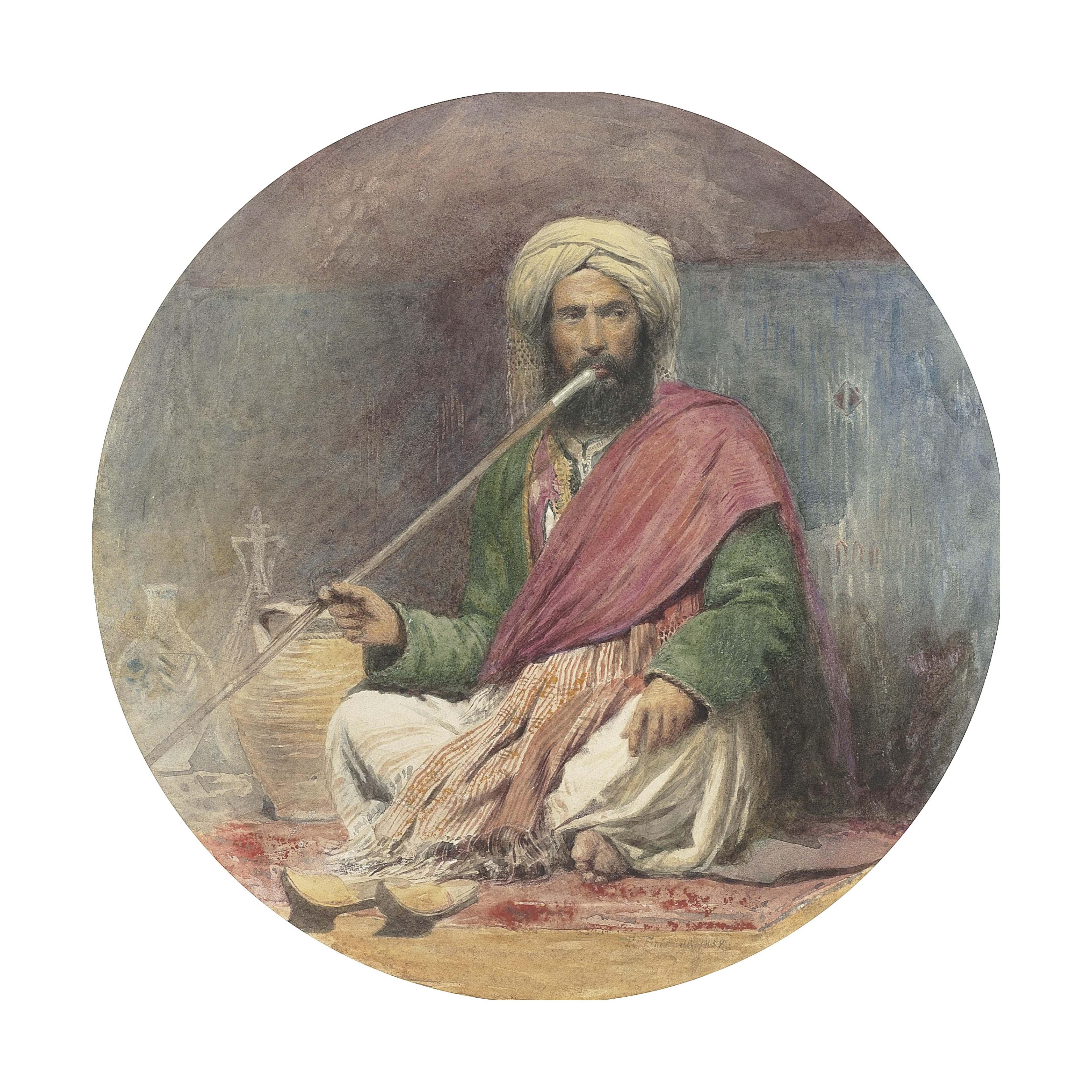 An Arab smoking a shilbouck (recto); An old Lady seated in a garden (verso)
