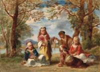Offrande au bohémien: Cinq enfants Turcs dans un parc près d'une rivière
