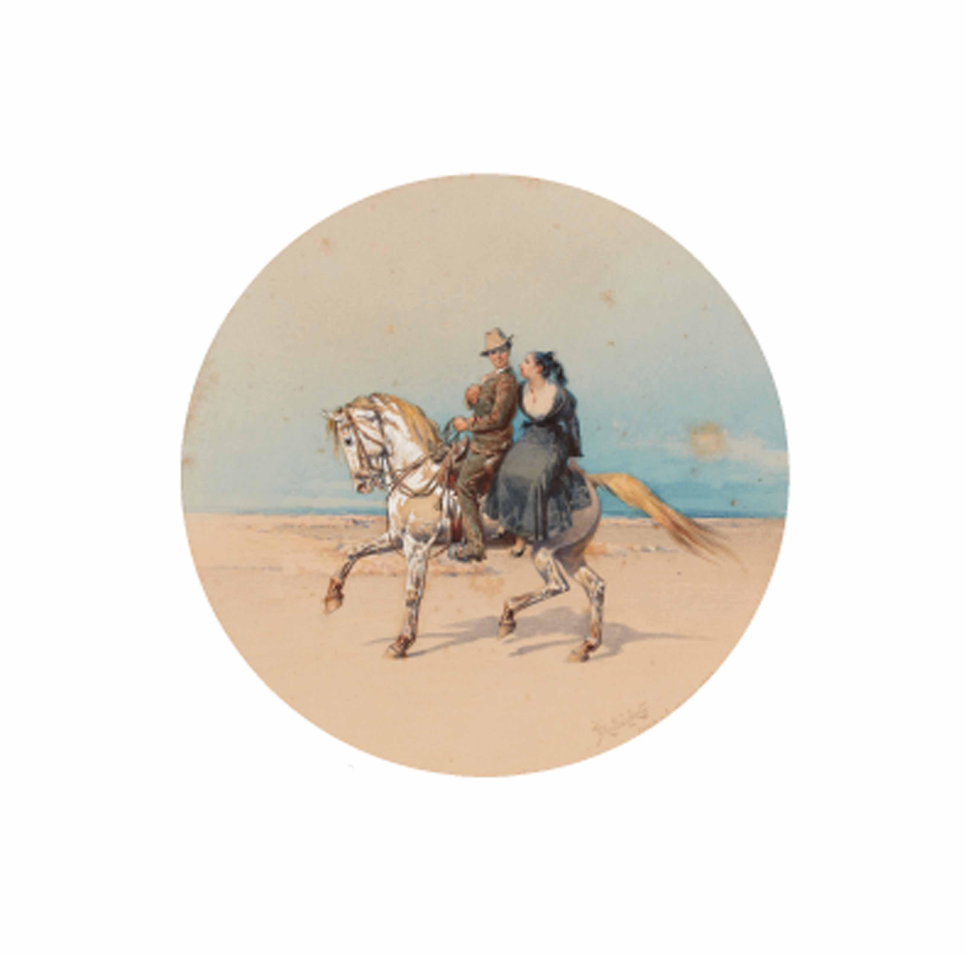 A couple on horseback