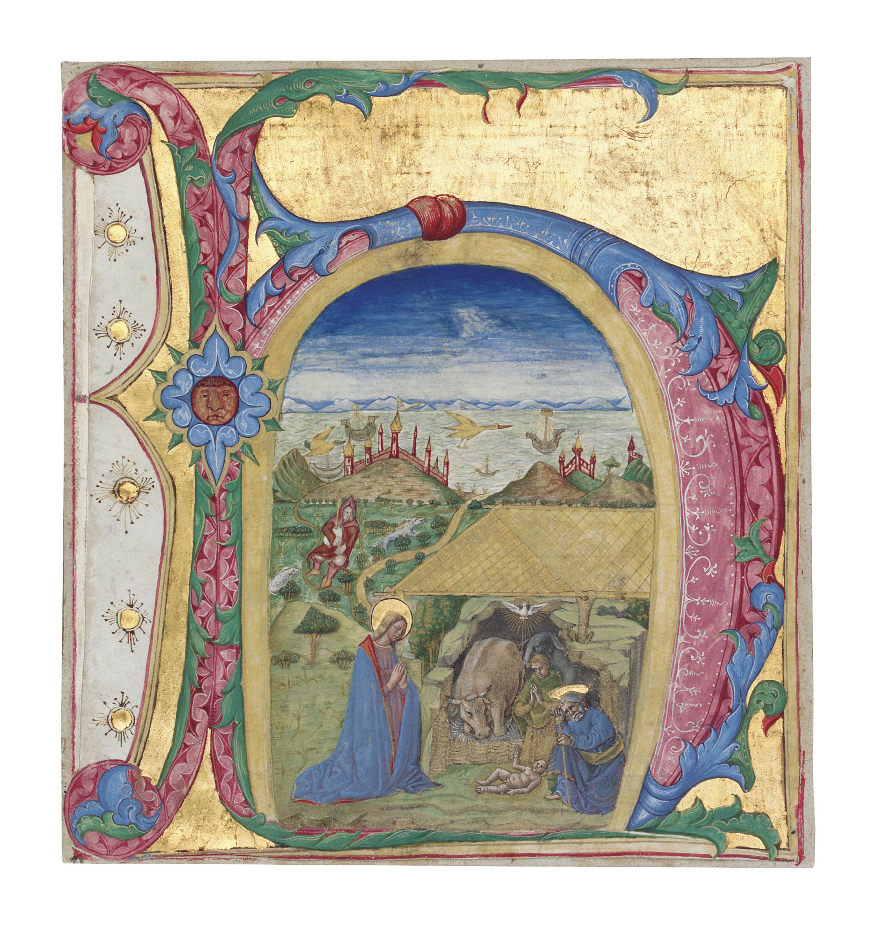 Nativity in a letter h cut from an antiphonal illuminated lot 3 spiritdancerdesigns Images