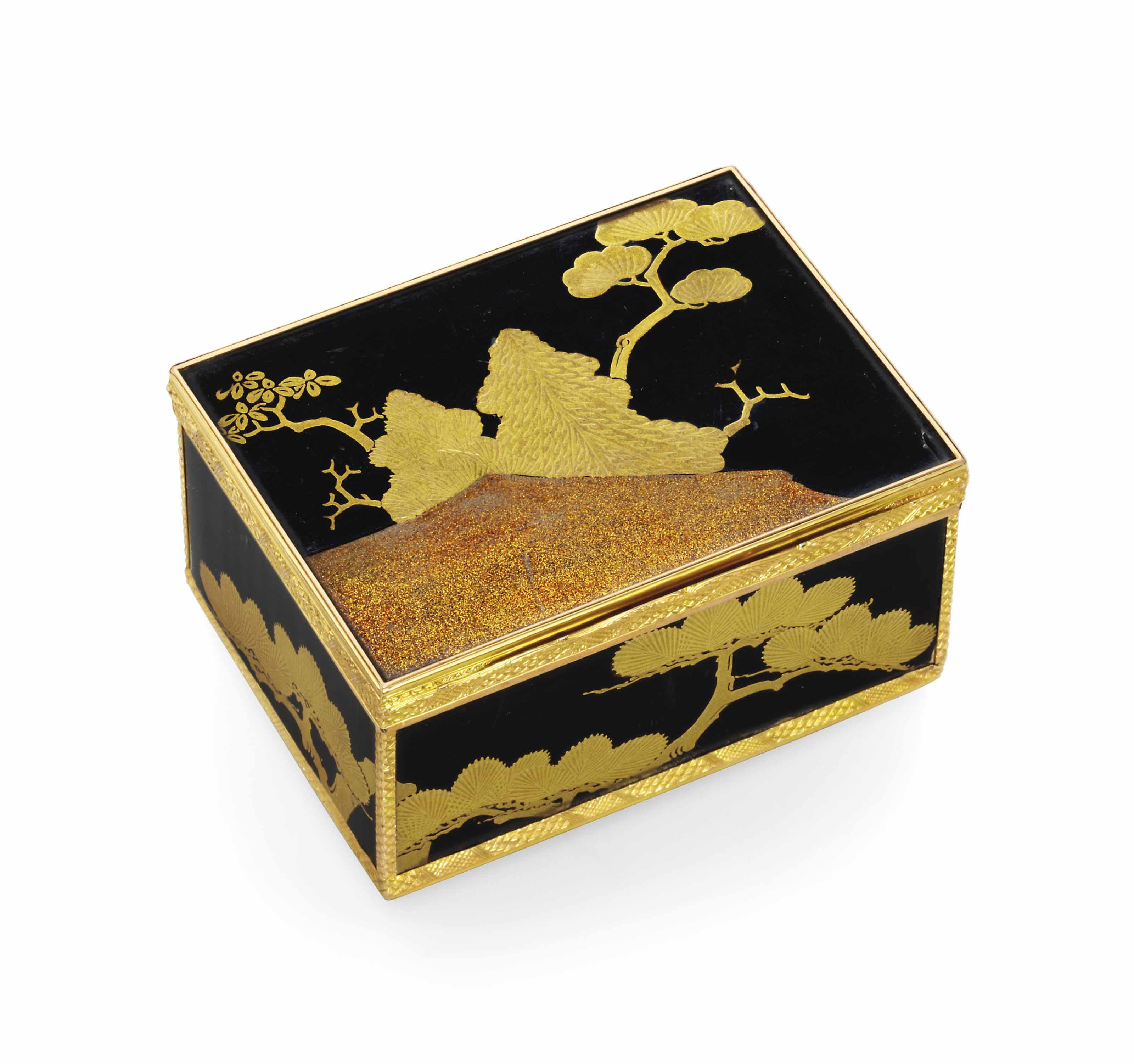 A LOUIS XV GOLD-MOUNTED LACQUER SNUFF-BOX