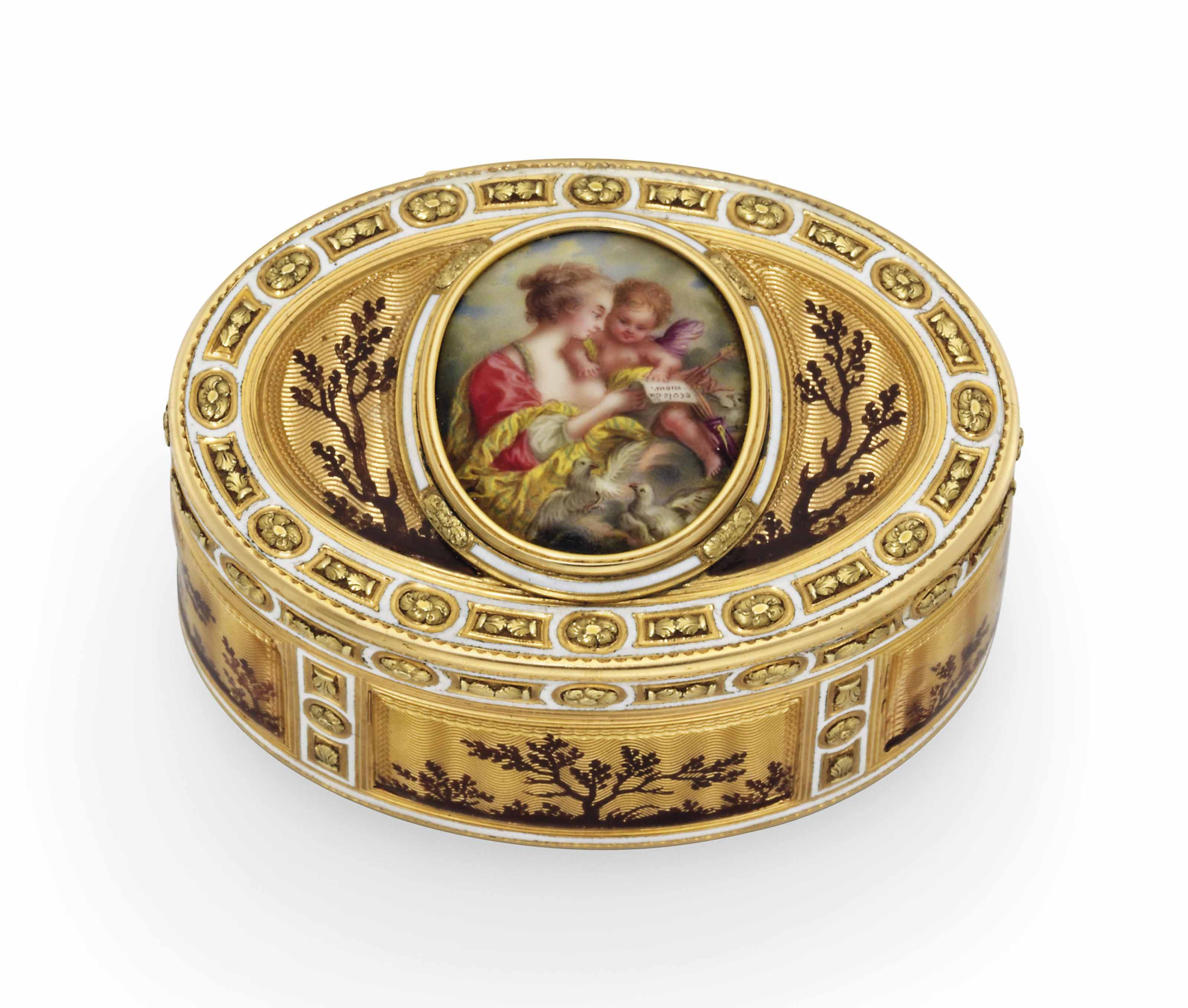 A LOUIS XVI ENAMELLED GOLD SNUFF-BOX SET WITH AN ENAMEL PLAQUE