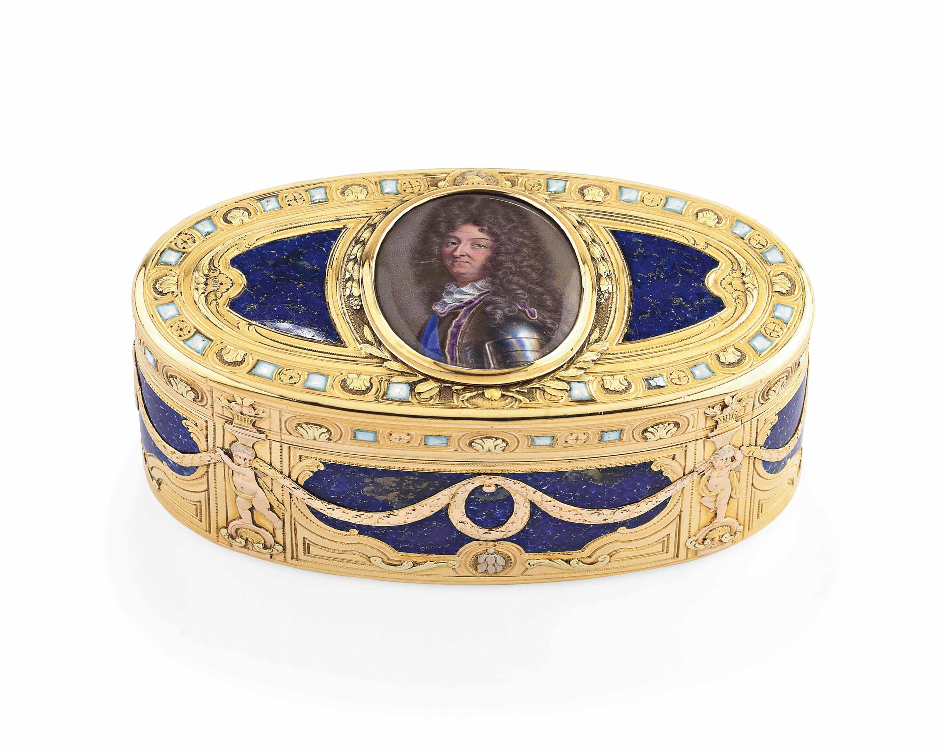 A LOUIS XV ENAMELLED VARI-COLOUR GOLD SNUFF-BOX SET WITH A MINIATURE