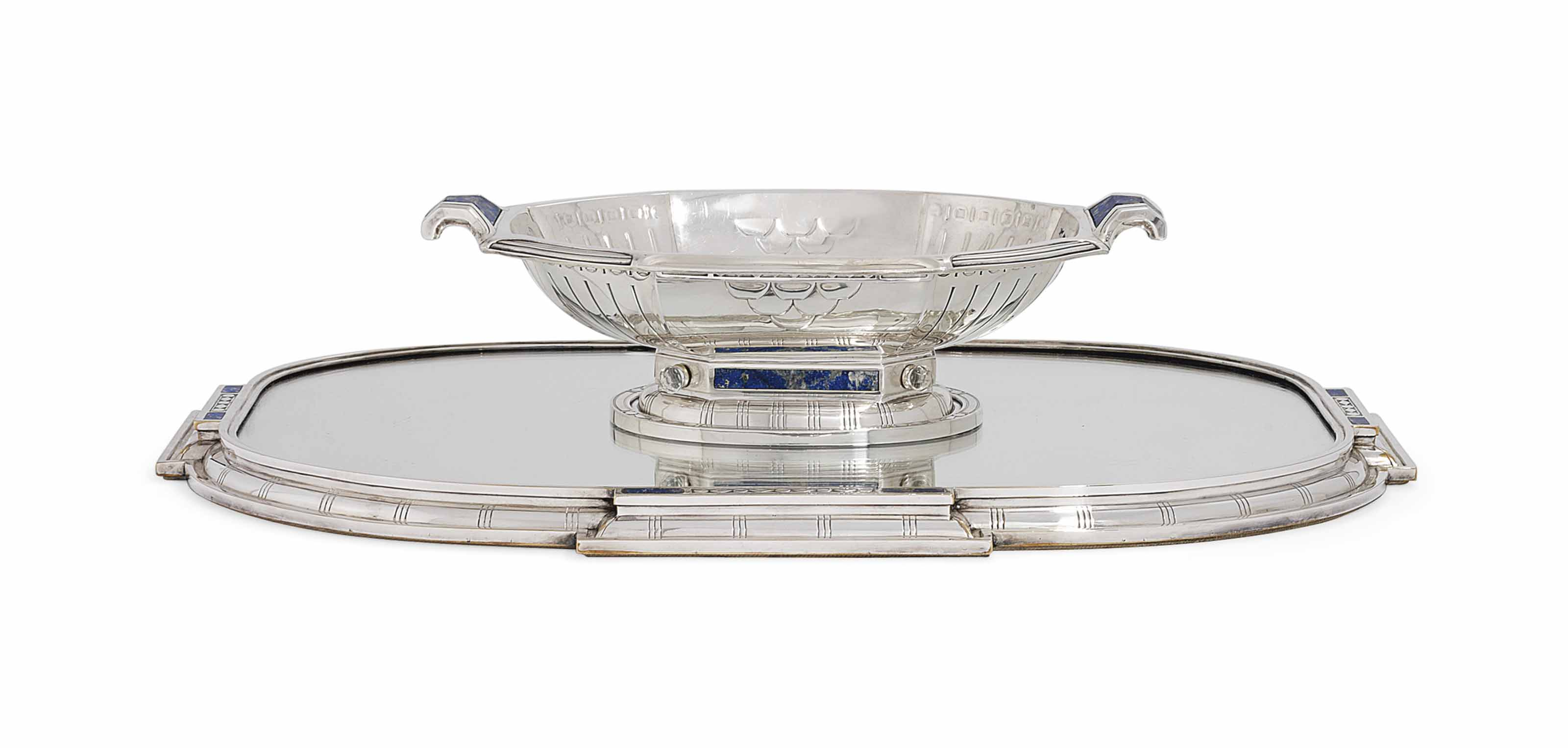 A FRENCH SILVER AND LAPIS LAZULI CENTREPIECE BOWL WITH A SILVER-PLATED AND LAPIS LAZULI MIRROR PLATEAU
