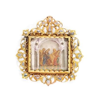 AN IBERIAN JEWELLED, GOLD, ENA