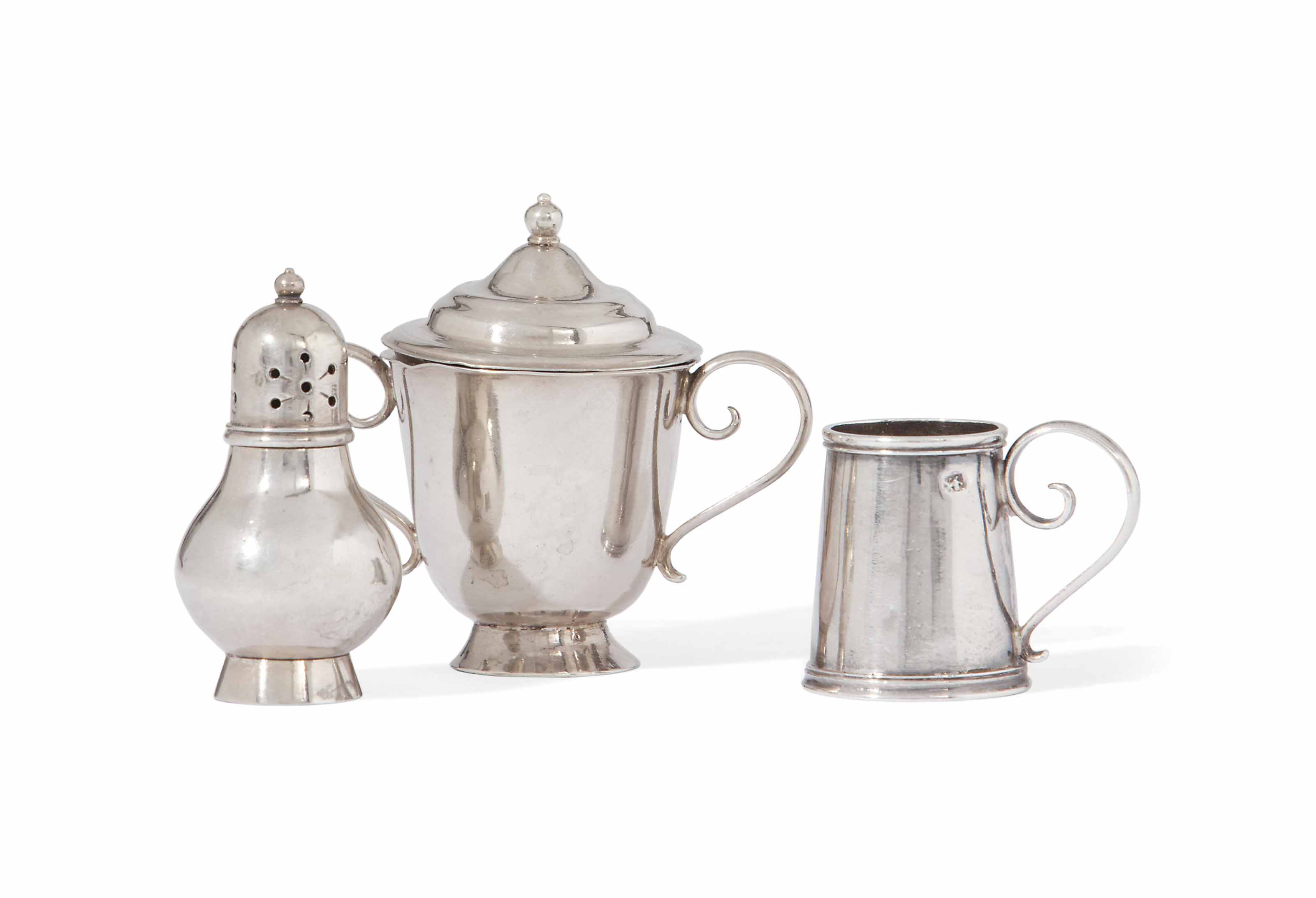 THREE GEORGE II SILVER TOY MINIATURES