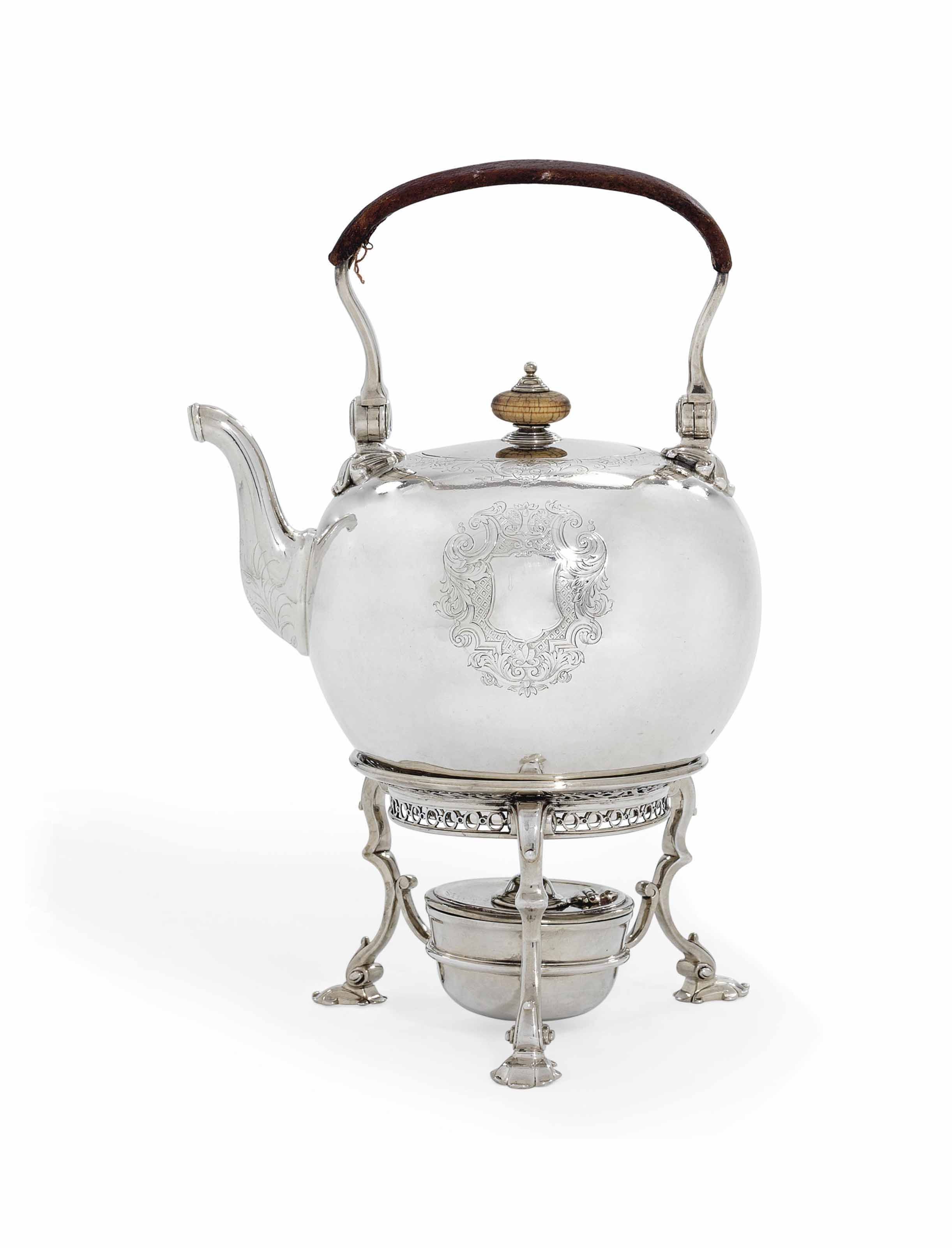 A GEORGE II SILVER TEA KETTLE,