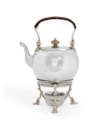 A GEORGE II SILVER TEA KETTLE,
